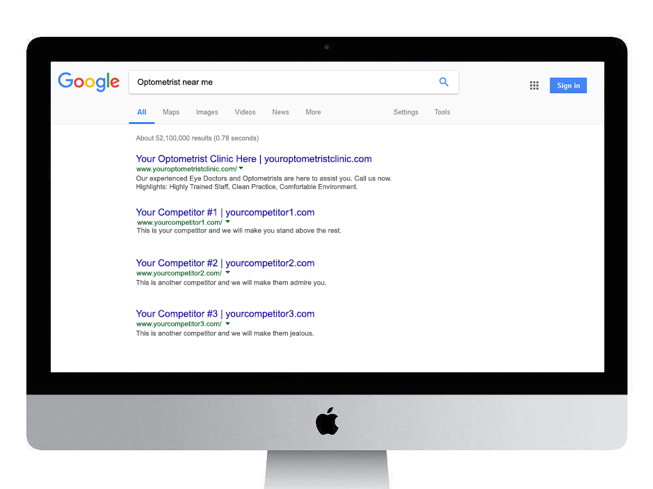 Optometrist Organic Search Superimposed
