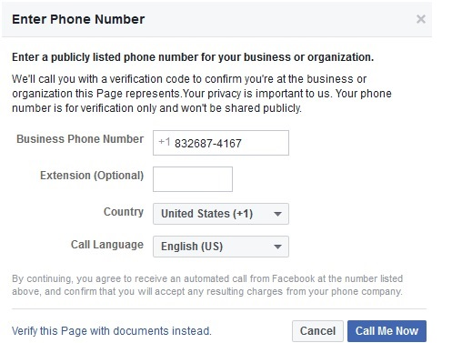 verification step for facebook