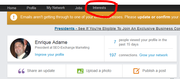 companies and interest button on linkedin.com