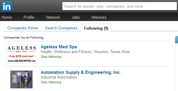 searching for a company on linkedin.com